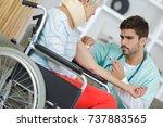 hospital doctor giving an...   Shutterstock . vector #737883565