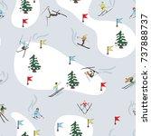 seamless pattern. winter skiing ... | Shutterstock .eps vector #737888737