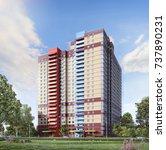 modern residential complex  3d... | Shutterstock . vector #737890231
