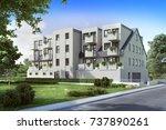 modern residential  3d render ... | Shutterstock . vector #737890261