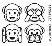 vector emoji monkeys set... | Shutterstock .eps vector #737890291