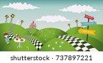 wonderland fantastic landscape... | Shutterstock .eps vector #737897221