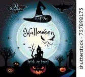 halloween night background with ... | Shutterstock .eps vector #737898175