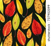 autumn pattern with leaves   Shutterstock .eps vector #737902099