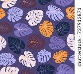 violet and orange floral jungle ... | Shutterstock .eps vector #737913871