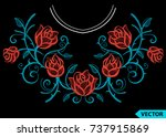 embroidery ethnic flowers neck... | Shutterstock .eps vector #737915869