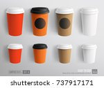 Stock vector mockup set of paper and plastic coffee cup template for cafe restaurant brand identity design 737917171