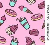dessert seamless pattern on pink   Shutterstock .eps vector #737919331