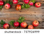 organic pomegranate fruits with ... | Shutterstock . vector #737926999