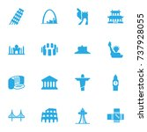 set of 16 famous icons set... | Shutterstock .eps vector #737928055