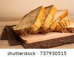 sliced breads put on wooden...   Shutterstock . vector #737930515