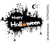 banner happy halloween on... | Shutterstock .eps vector #737932441