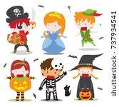 isolated vector cartoon of kids ... | Shutterstock .eps vector #737934541