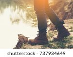 young man looking for freedom... | Shutterstock . vector #737934649