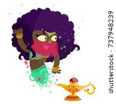 afro woman genie of the lamp... | Shutterstock .eps vector #737948239