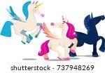 cartoon flying unicorns couple | Shutterstock .eps vector #737948269