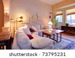 olden yellow living room with folk artistic design. Old craftsman style home in Seattle. - stock photo