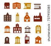 buildings icon set for web... | Shutterstock . vector #737955385