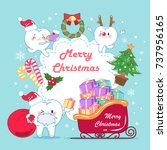 tooth with merry christmas on... | Shutterstock .eps vector #737956165
