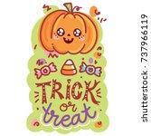 halloween party. cute... | Shutterstock .eps vector #737966119