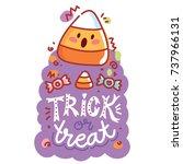 halloween party. cute... | Shutterstock .eps vector #737966131