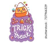 halloween party. cute... | Shutterstock .eps vector #737966329
