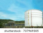 oil tank and oil storage at oil ... | Shutterstock . vector #737969305