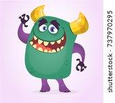 happy cute cartoon cute monster.... | Shutterstock .eps vector #737970295