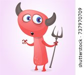 cute cartoon devil with trident.... | Shutterstock .eps vector #737970709
