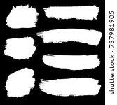 set of hand painted white brush ... | Shutterstock .eps vector #737981905