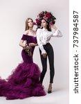 two girls  models  sisters ... | Shutterstock . vector #737984587