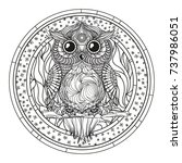mandala. zentangle owl. hand... | Shutterstock . vector #737986051