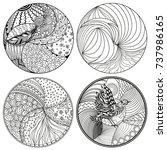mandala. set. zendala.... | Shutterstock . vector #737986165