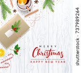 merry christmas card with... | Shutterstock .eps vector #737989264
