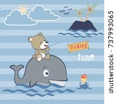 fishing with whale  vector... | Shutterstock .eps vector #737993065