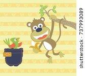 vector cartoon of monkey and... | Shutterstock .eps vector #737993089