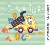 cute animal on dump truck ... | Shutterstock .eps vector #737993095