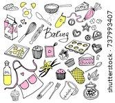vector set drawings of baking...   Shutterstock .eps vector #737993407
