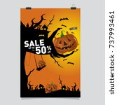 poster halloween sale and party ... | Shutterstock .eps vector #737993461