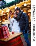 happy loving couple making self ... | Shutterstock . vector #737996299