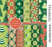 set of seamless christmas... | Shutterstock .eps vector #737997511