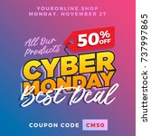 cyber monday super sale. up to... | Shutterstock .eps vector #737997865