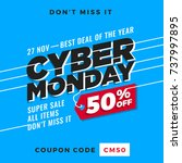 cyber monday super sale. up to... | Shutterstock .eps vector #737997895