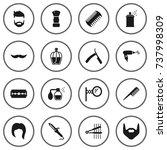 set of 16 barber icons set... | Shutterstock .eps vector #737998309