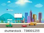 transportation city traffic and ... | Shutterstock .eps vector #738001255