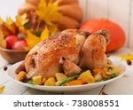 roasted turkey garnished with... | Shutterstock . vector #738008551