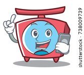 with phone scale character... | Shutterstock .eps vector #738009739