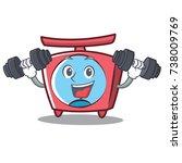 fitness scale character cartoon ... | Shutterstock .eps vector #738009769