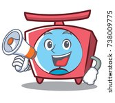 with megaphone scale character... | Shutterstock .eps vector #738009775