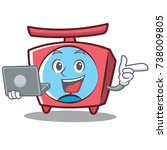 with laptop scale character... | Shutterstock .eps vector #738009805